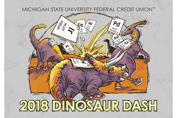 MSU Federal Credit Union Dinosaur Dash logo for 2018