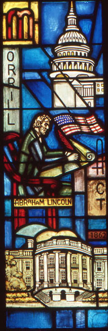 Image of President Abraham Lincoln is depicted signing the Morrill Act in this stained glass window in the Alumni Chapel on the campus of Michigan State University. Photo courtesy of the Michigan State University Museum, all rights reserved.