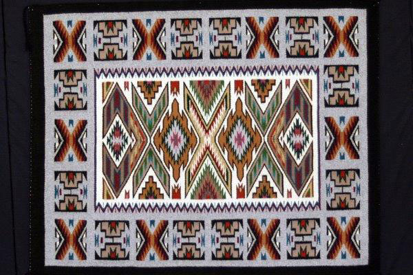Image of rug, made by Bessie Littleben, Navajo, ca. 1998 Teec Nos Pos, Arizona