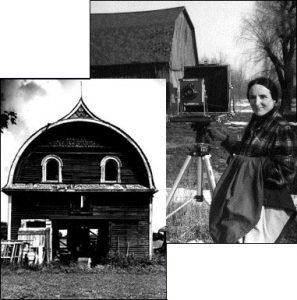 Photo montage of Mary Keithan photographing a barn and a Masonic barn