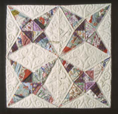 Image of Job's Tears quilt block made by Lorna Tippen in 1987