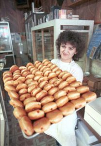 "Image of One of the many bakeries in Hamtramck that make thousands ""paczki"" for the Tuesday before Lent. Photograph by Al Kamuda, all rights reserved, Michigan State University Museum."