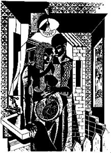 Image of 'Safe as housing,' linocut by David John Yule.