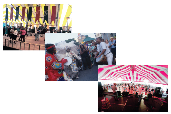 Images from right to left: The Festival of Michigan Folklife dance stage, 1990. Photo by David L. Perry Brazilian Junkanoo on the streets of East Lansing, 2001. Photo by Mary Whalen Jamming under the dance tent, 2010. Photo by Patrick Power.