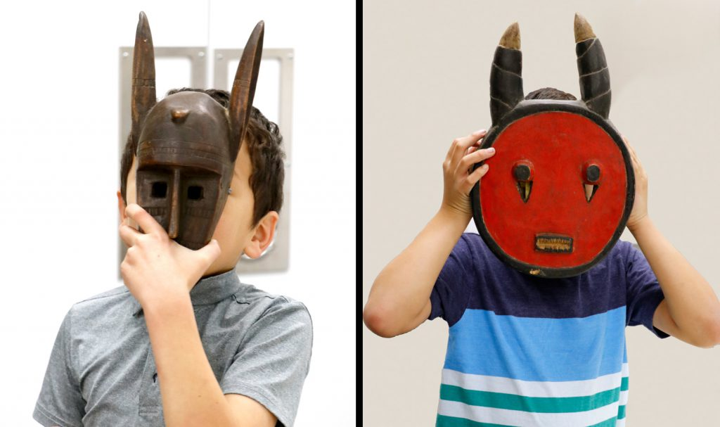 Children with African masks