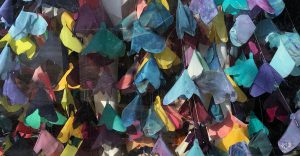 Detail of Silk-based Butterfly Dress created by Alexandra Bourque