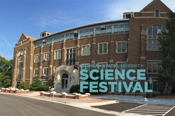 The MSU Museum building with the MSU Science Festival logo
