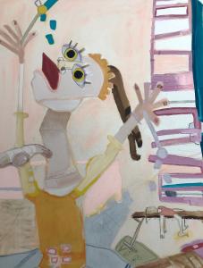 "Detail of Jordyn Fishman's painting, ""Together We Roar, Pt. 2"""