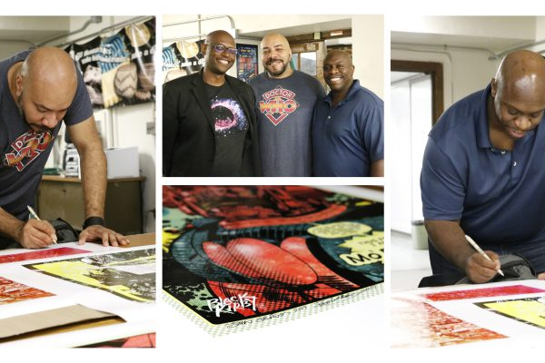 Black Kirby artists with Julian Chambliss signing four prints that are now part of the MSU Museum's collection. From left to right: (Left) John Jennings; (Center) Julian Chambliss, John Jennings, Stacy Robinson; (Right) Stacy Robinson