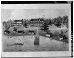 Drawing of Hotel Williams and 5 log buildings on Murray Bay, Munising, Alger County, Michigan