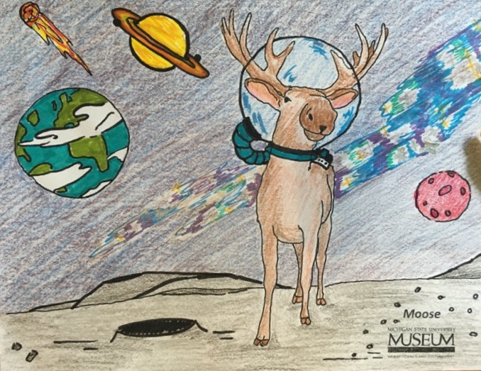 Crayon colored drawring of moose wearing a space helmet on a different planet