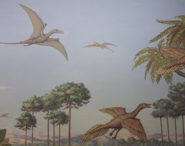 Painting of flying archaeopteryx