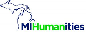 "Logo with line outline of Michigan and text: ""MI Humanities"""