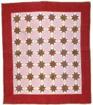 Quilt with star pattern in seven rows of six stars with border