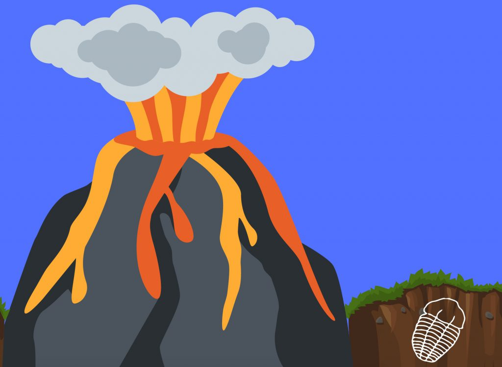 Cartoon of an erupting volcano with a trilobite fossil outline in the dirt nearby