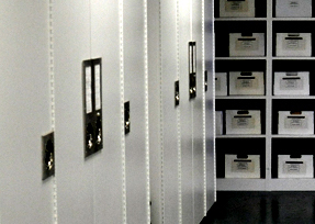 Museum collection cabinets with labels and archival boxes on shelves