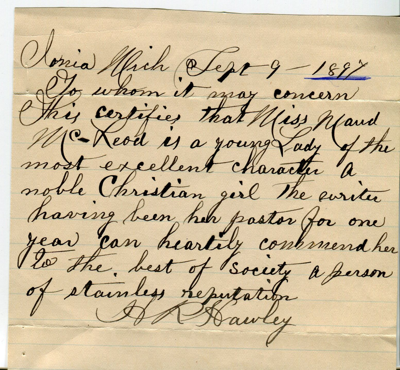 Handwritten letter attesting to Maud McLeod's good character