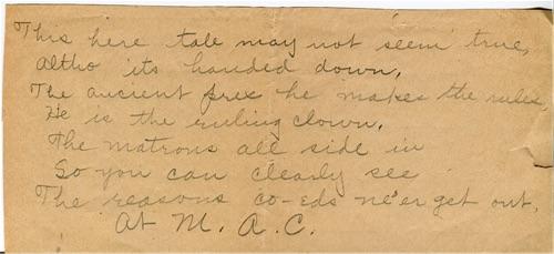 Handwritten poem about sctrict curfews at M.A.C.