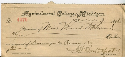 Receipt from January 1898 for paying 35 cents for dorm room damages