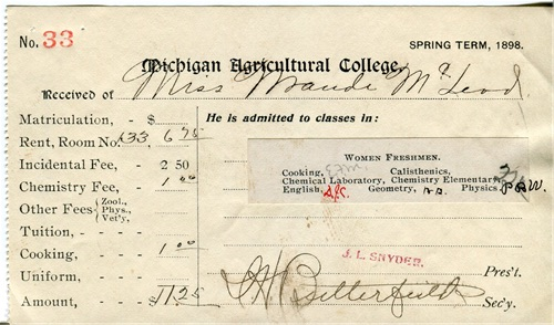 M.A.C. fee record for Maud McLeod's Spring term in 1898