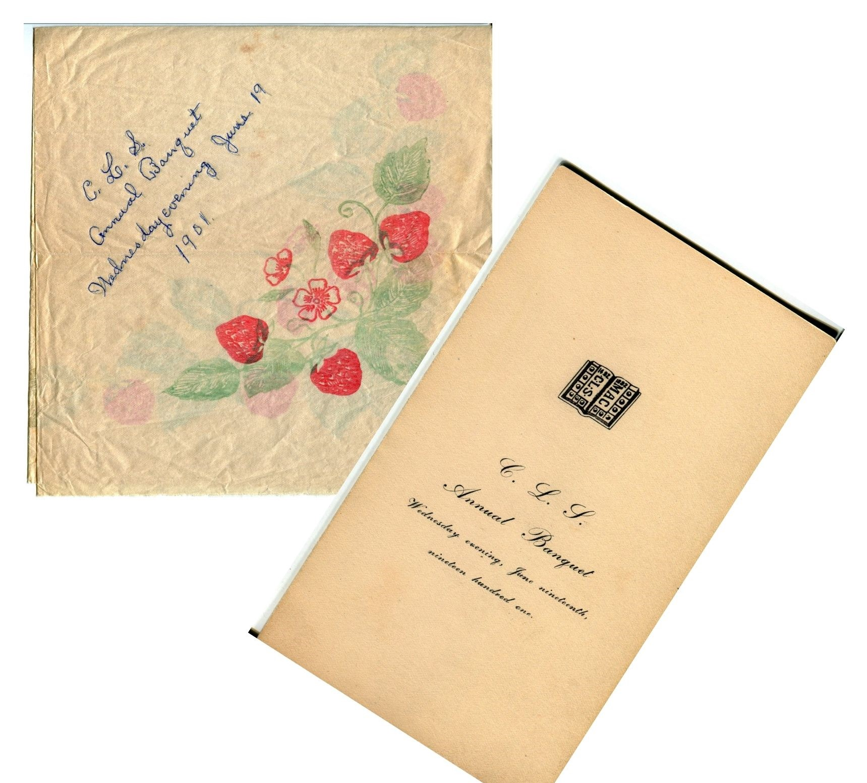 Inivtation and paper napkin from an award banquet in 1901