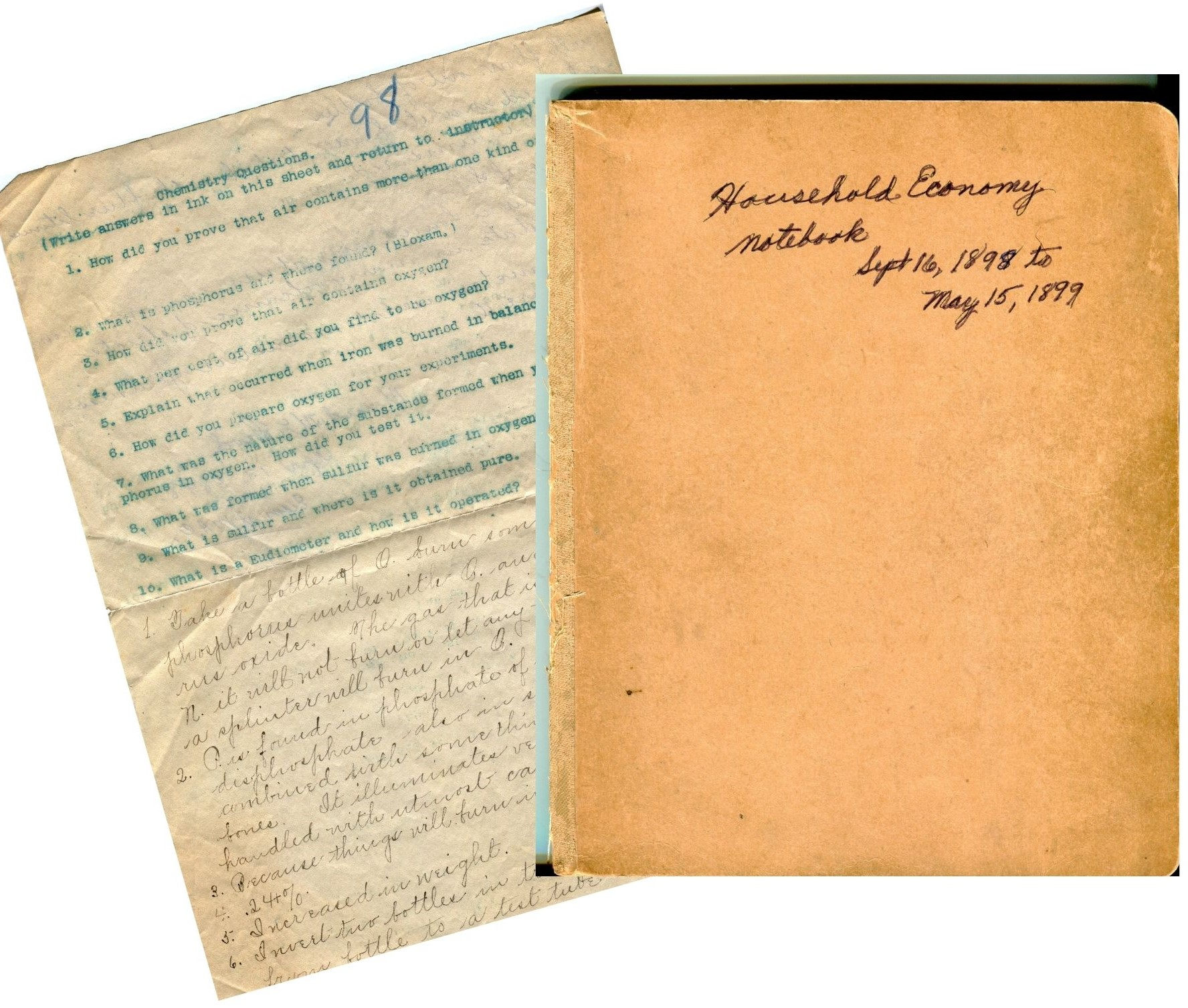 Maud McLeod's chemistry assignment and household economy notebook