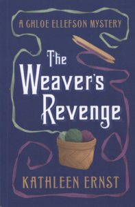 """Book cover with text """"The Weaver's Revenge"""" and basket with fibers"""